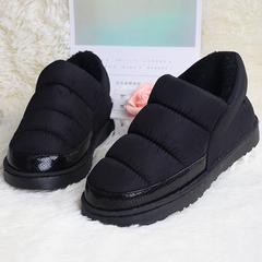 冬季棉拖鞋女包跟男情侣皮面防水室内家居家羽绒加厚底防滑保暖鞋