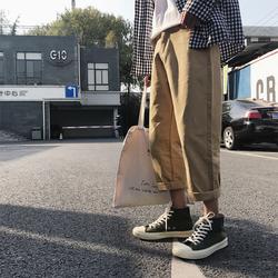 2018春夏新款纯色哈伦裤宽松BF风学生阔腿裤男百搭休闲直筒裤子潮