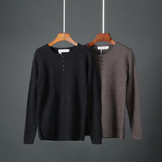 Simple solid color men's long-sleeved sweater autumn and winter new wild sweater was thin casual bottoming shirt 6812