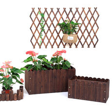 Solid wood rectangular flower box planting tree box flower pot flowering carbonized wood outdoor large balcony vegetable pot