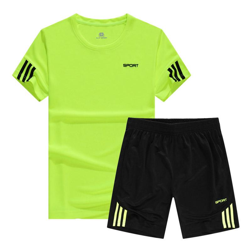 新款夏季运动套装男宽松短袖速干跑步服健身训练服透气吸汗休闲服