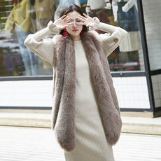 Fox fur vest female long section faux fur short coat 2018 new big drop winter slim vest vest