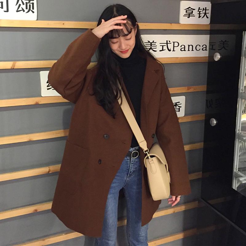 时尚2019流行大衣春装新款毛呢上衣宽松网红同款呢子外套慵懒风女