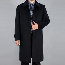 Autumn and winter over the elderly knee long cashmere coat male long woolen wool coat long coat large size windbreaker