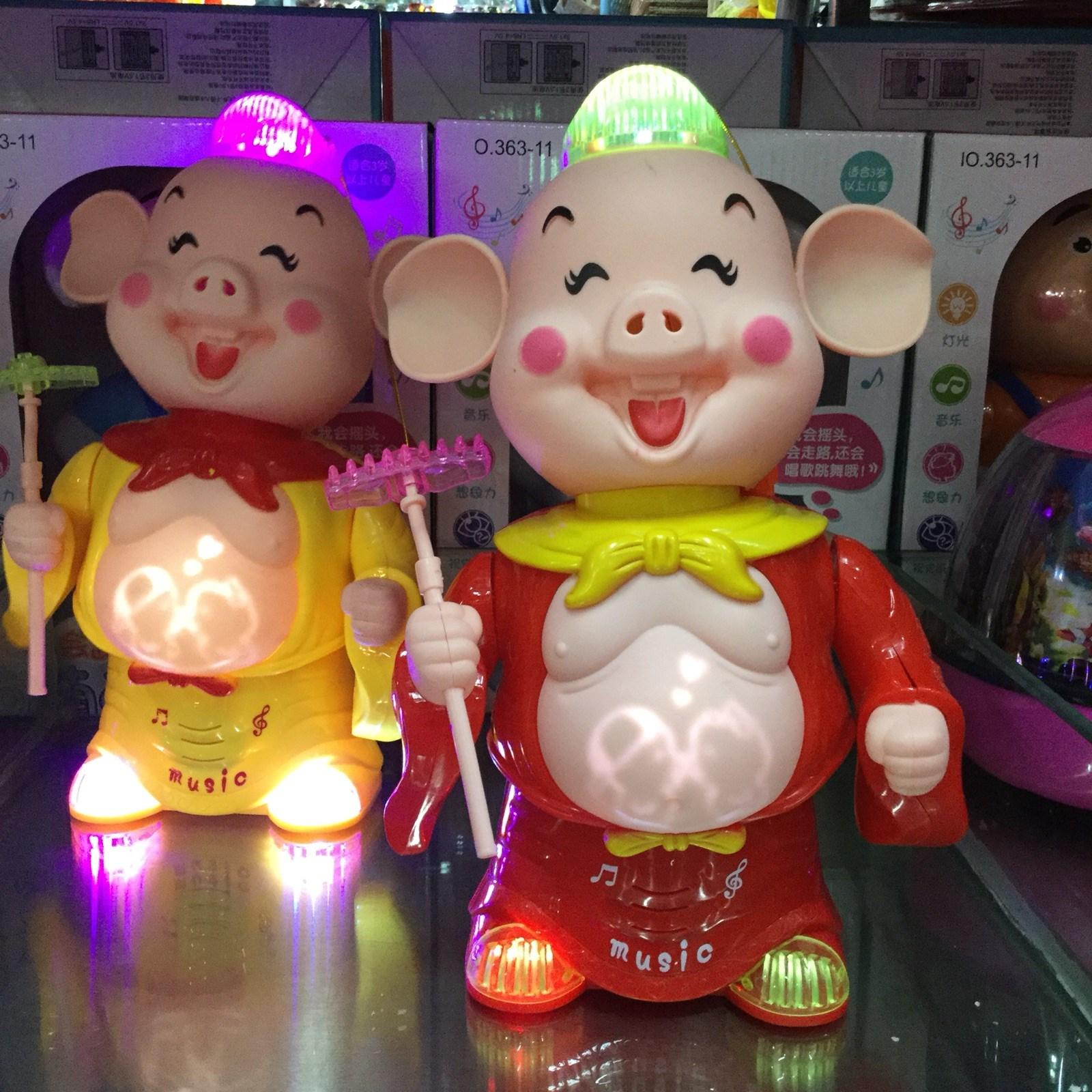 猪扒儿童猪八戒手提灯笼玩具电动摇摆轮音乐旋转地摊夜市发光灯笼