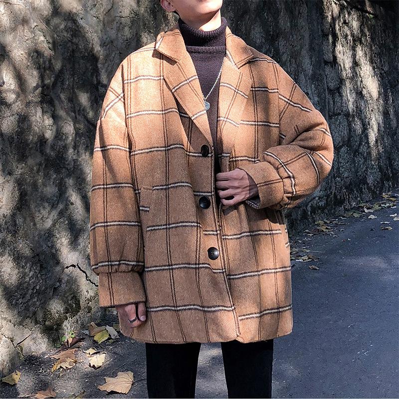 文艺男女店加厚格子男士风衣冬季韩版大衣男中长款潮流英伦风外套