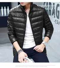 Clearance Men's Light White Duck Down Jacket Short Hooded Slim Fatty Teen Slim Warm Jacket