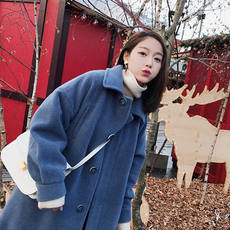 Small tomato custom winter smoky blue velvet middle long woolen coat single-breasted thick loose woolen coat