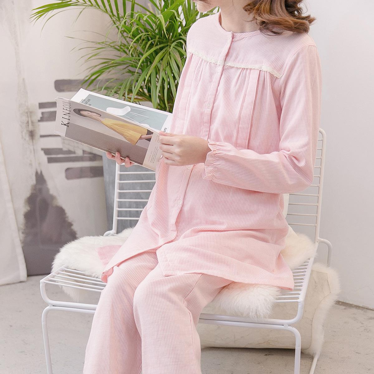 月子服春秋纯棉纱布产后哺乳衣竖条孕妇睡衣长