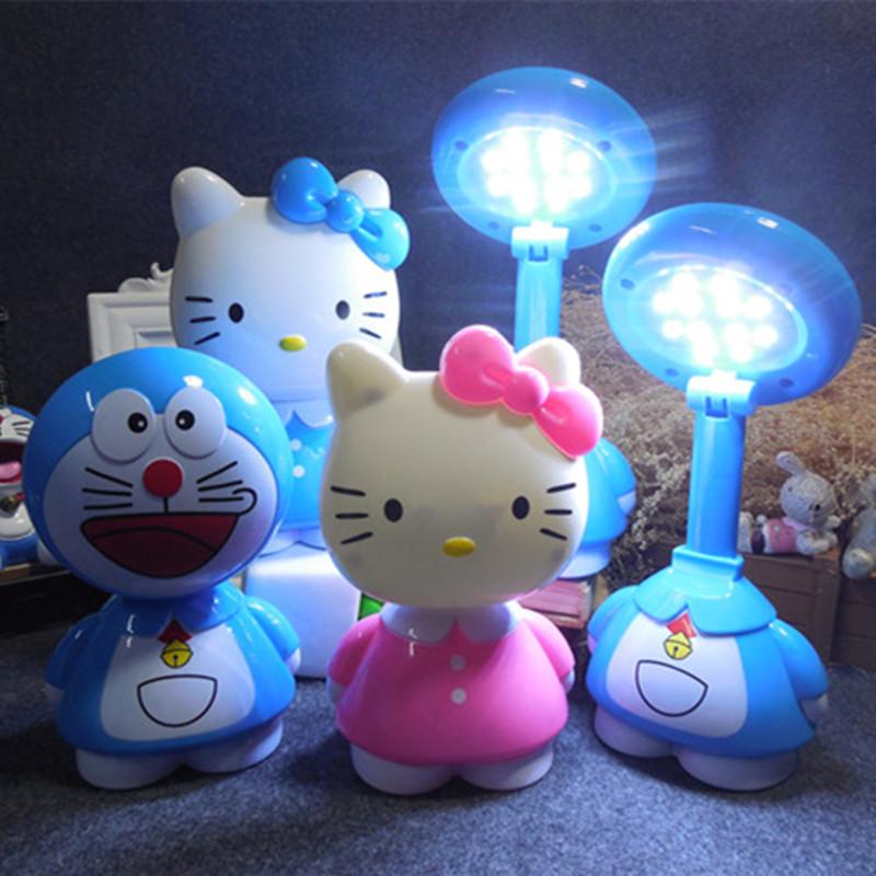 叮当猫学习台灯可充电式迷你可爱kt猫儿童小夜灯书桌卡通LED 包邮