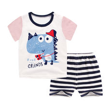 New summer baby cotton shorts short sleeve suit boys and girls T-shirt shorts two sets of infants 0-3-5 years old