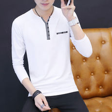 2018 spring and autumn handsome cotton men's long-sleeved T-shirt has a lead in the autumn clothes on the outside wearing a V-neck men's shirt