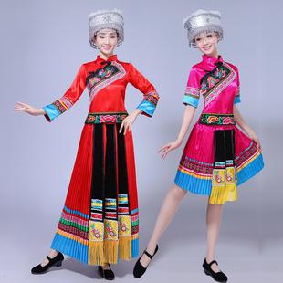 云南少数民族特色表演服装苗族土家族黎族舞蹈演出服成人百褶裙女