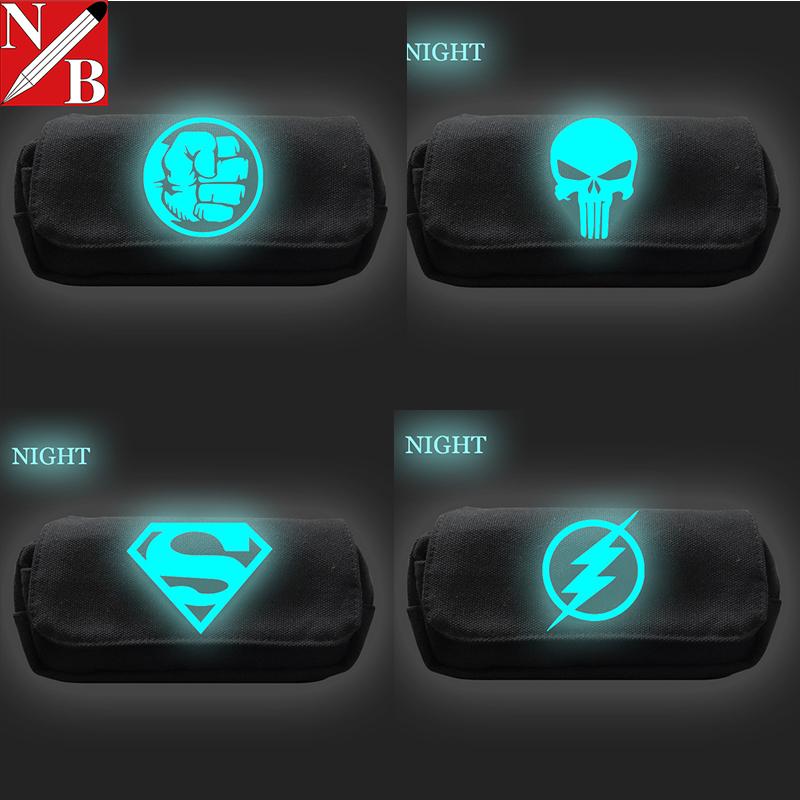 笔袋男大容量简约帆布漫威复仇者联盟3 超级英雄夜光款漫威文具盒