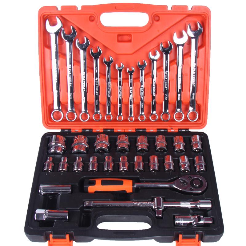 37件火花塞套筒批头棘轮快速扳手组合工具箱套装汽修汽保汽车维修