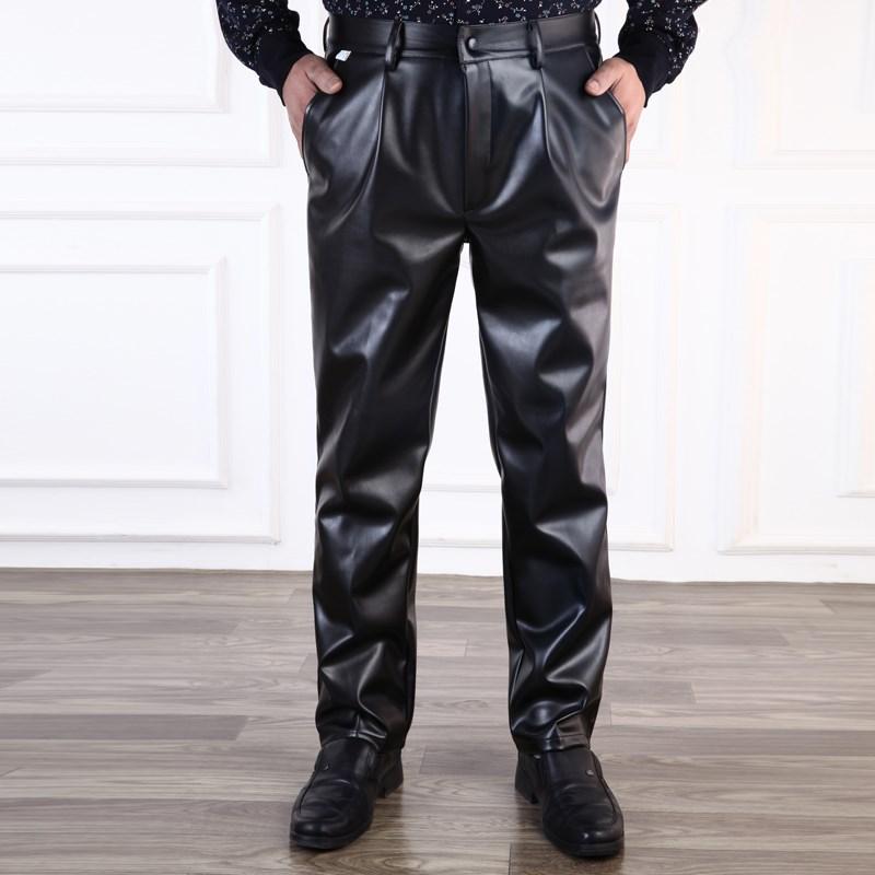 单层裤皮裤薄款胖秋冬季男士哑光老年人摩托车光面加大码工作裤