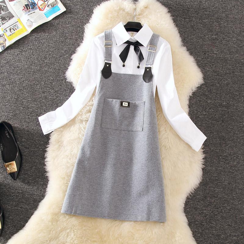 2018秋季新款韩版两件套长袖白衬衫中长款毛呢背带连衣裙女春秋款