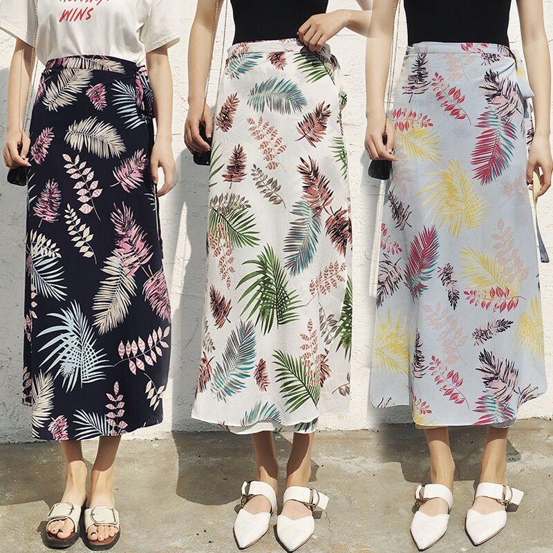 碎花半身裙夏女装沙滩度假波西米亚中长款雪纺一片式系带半身裹裙