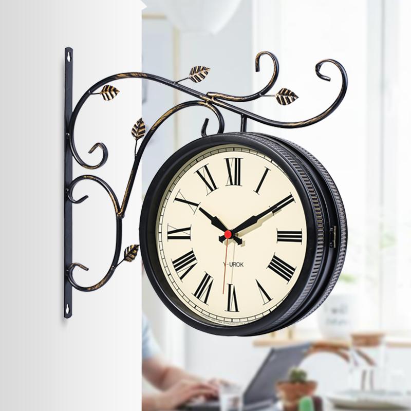 欧式钟表复古双面挂钟客厅时钟静音美式装饰创意简约墙钟两面挂表