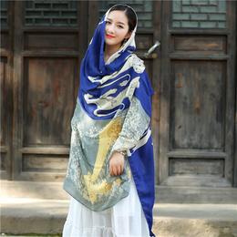 丝巾女春秋民族风披肩沙滩巾棉麻大围巾两用纱巾空调波西米亚度假