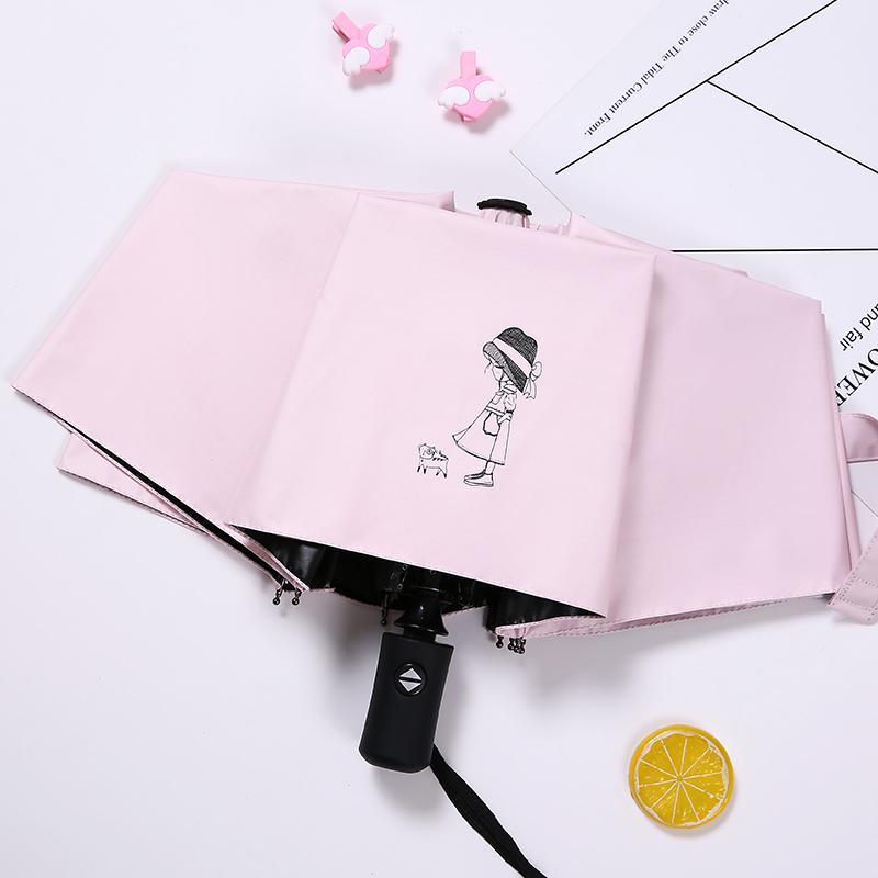 全自动少女心雨伞女晴雨两用太阳伞防晒防紫外线遮阳伞ins伞折叠
