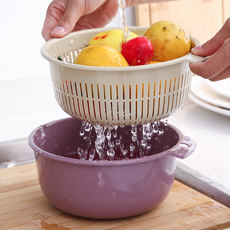 Japanese double-layer drain basket sink living room fruit bowl household small plastic vegetable basket washing basket