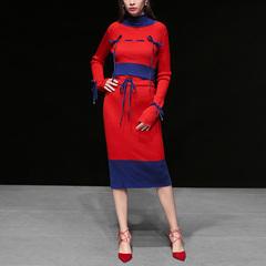 秋冬季女装2018新款气质名媛拼色针织两件套时尚修身毛衣裙子套装