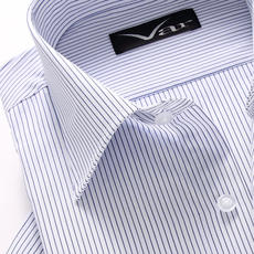 Var ice bamboo fiber non-iron men's short-sleeved shirt daddy summer business dress-style striped inch clothes 佤诺