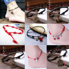 [Buy two get one free] hand-woven this year of the red rope anklet Korean version of the simple student retro wind anklet female