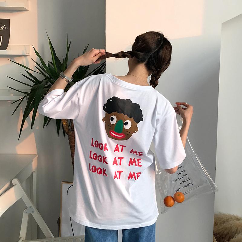 东川崎町可爱小黑人印花韩国夏宽松显瘦百搭打底衫圆领短袖T恤女