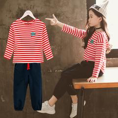 女童套装2018新款秋季韩版时髦大童卫衣春秋儿童洋气长袖两件套潮