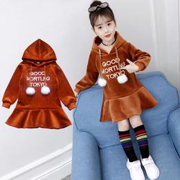 5到12岁11女童10秋冬季9女孩8小孩7双面加绒6加厚卫衣裙连衣裙子