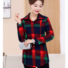 Mother long-sleeved shirt middle-aged female coat cotton plaid shirt middle-aged 4050 autumn and winter wear plus velvet shirt