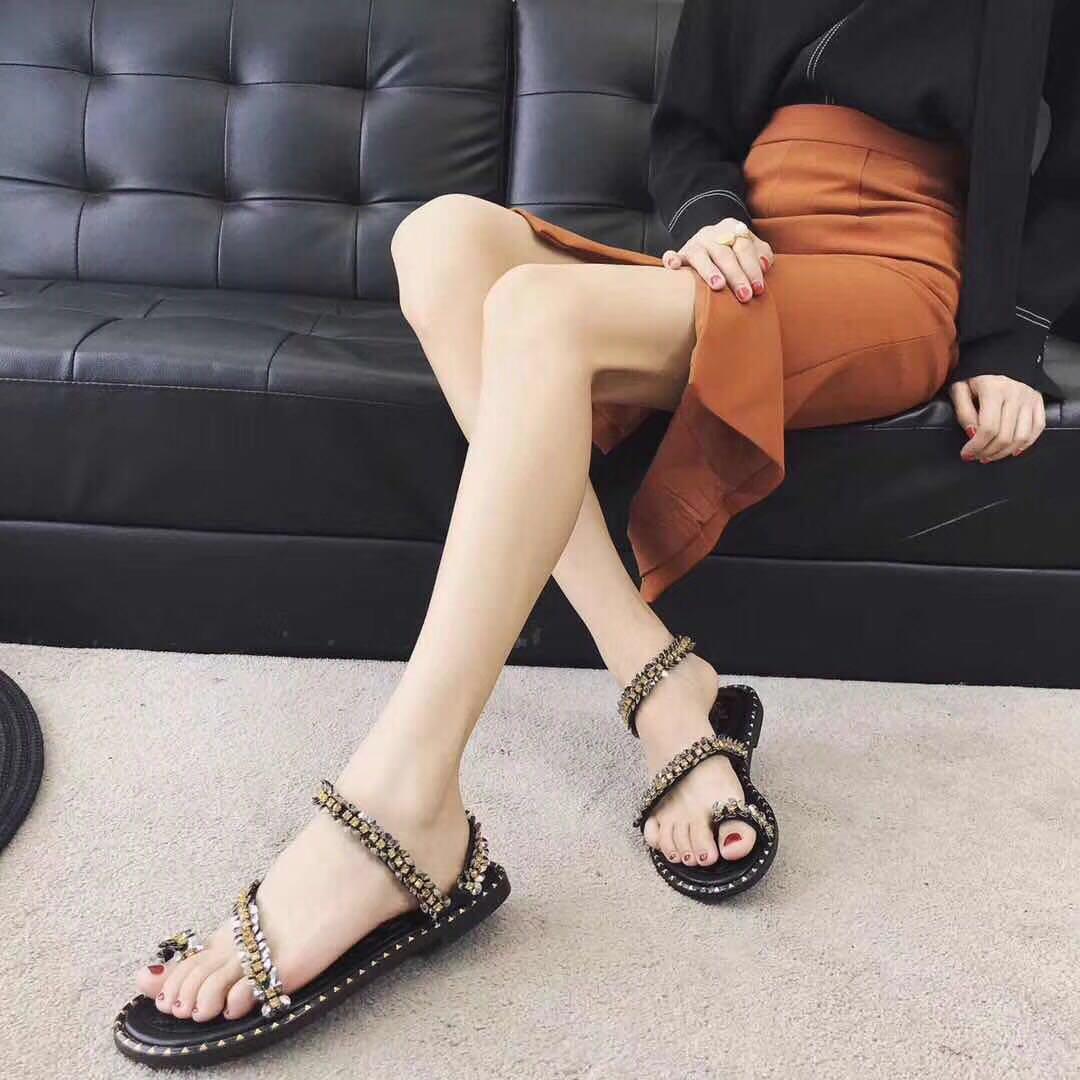 夏季新款镭射金属水钻厚底松糕坡跟露趾罗马系带凉鞋运动休闲女鞋