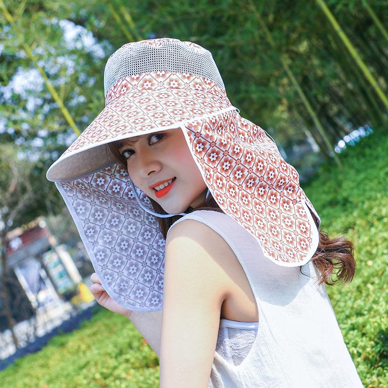 防晒帽女夏天防紫外线帽子遮脸遮阳帽女韩版太阳帽出游百搭采茶帽