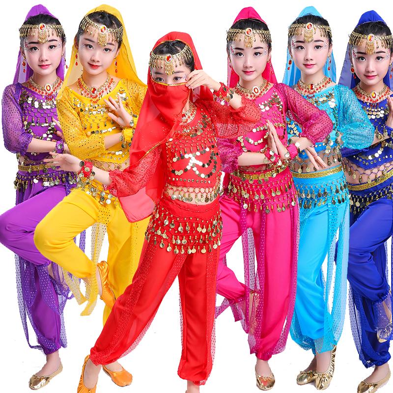 儿童印度舞演出服女童肚皮舞的表演服装新疆六一幼儿园民族舞蹈服
