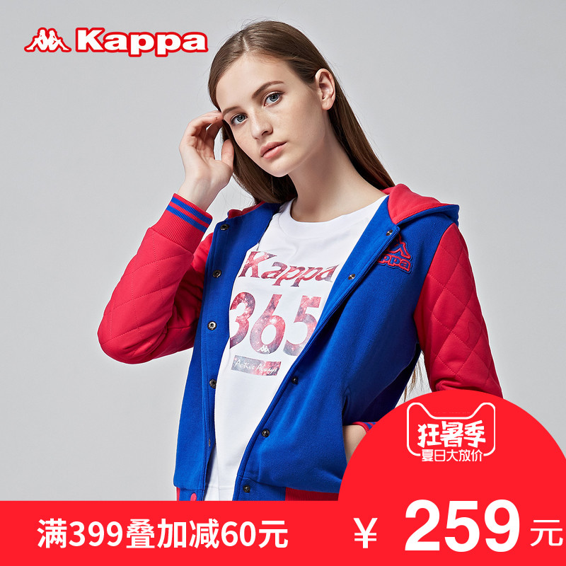 Kappa 女棉服运动夹棉外套休闲连帽棉衣拼色棒球衫|K0562MM05