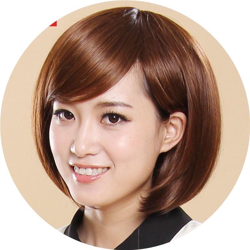 斜刘海修脸bobo头蓬松时尚波波女生假发短发波波头气质高温丝图片