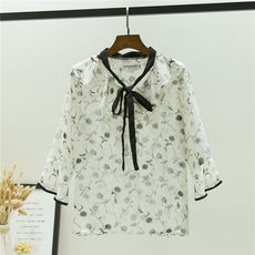 Early autumn new floral chiffon shirt seven-point sleeve loose sweet temperament wild bow trumpet sleeve shirt