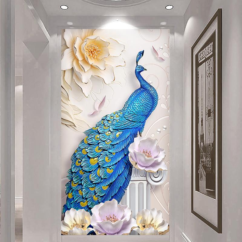 3d立体竖版玄关走廊过道背景墙壁纸装饰壁画简约现代孔雀58d墙布图片