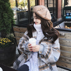 UU big devil 2017 autumn and winter loose long single-breasted lantern sleeves woolen coat plaid woolen coat female tide