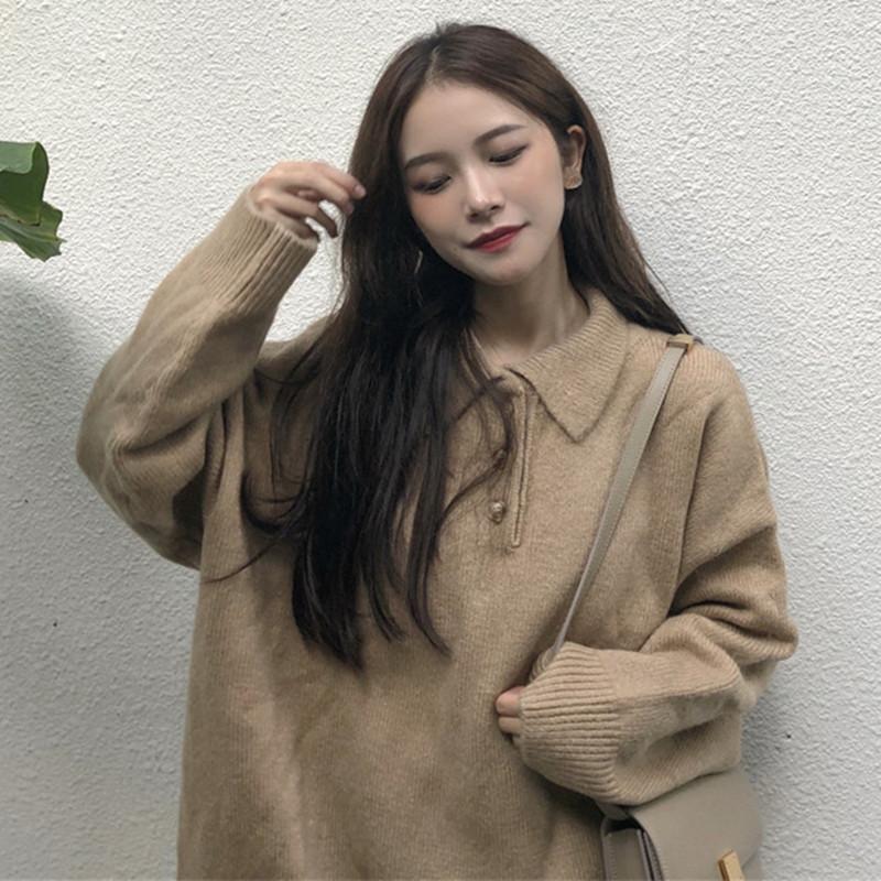 秋冬2018韩版POLO领上衣套头百搭宽松慵懒针织衫chic早秋毛衣女