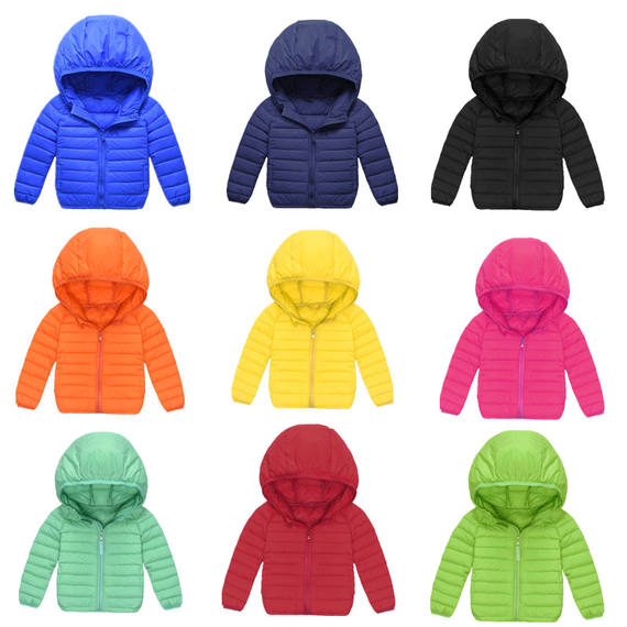 Children's down jacket new light down jacket boys and girls thin hooded down jacket baby short coat