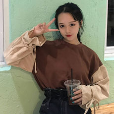 Early autumn new Korean version of the wild loose thin stitching hit color corduroy long-sleeved lace sweater women's shirt students