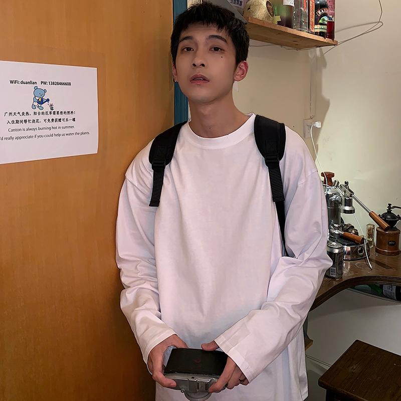 Hualun基础款春季百搭打底衫简约纯色长袖T恤男ifashion上衣体恤