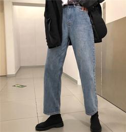 春季韩国ulzzang原宿BF风宽松高腰磨破做旧水洗牛仔裤直筒长裤女