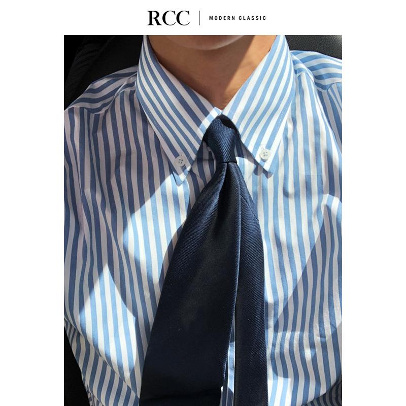 RCC男装 3色 意式大领商务正装条纹高品质棉上班衬衫男 韩国代购