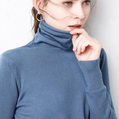 瑾绒秋冬新款韩版修身打底毛衣女堆堆领针织衫套头内搭显瘦时尚款