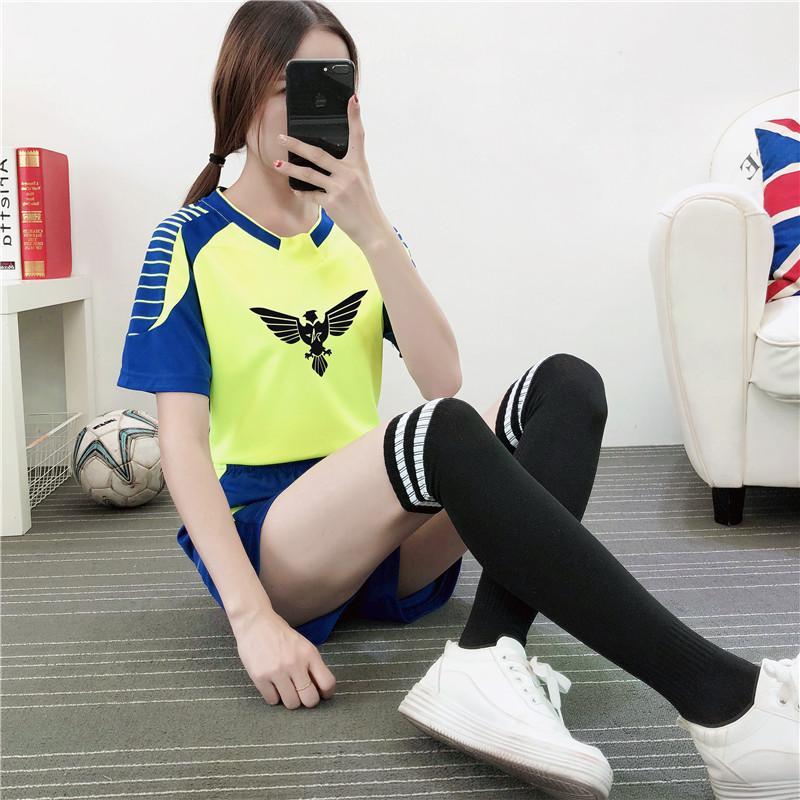 足球服套装女学生短袖球衣定制女童足球比赛运动队服个性班服团购