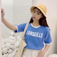 2018韩范拼色假两件字母印花短袖T恤女装新款夏天套头纯棉打底衫